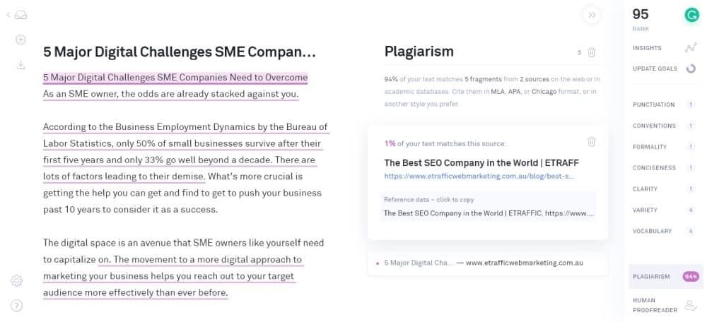 grammarly premium plagiarism