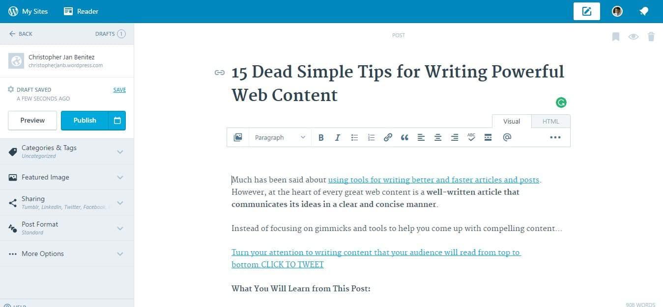 Wordpress dot com text editor
