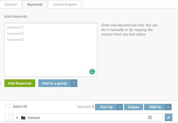 adding keywords on se ranking