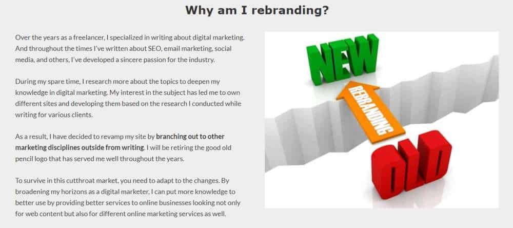 rebranding page